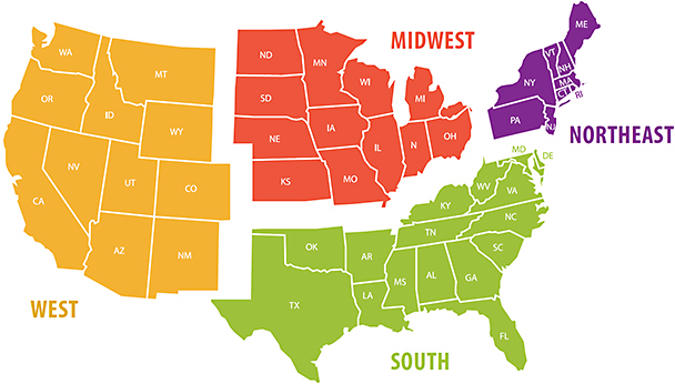 Eyecare Business American DEMOGRAPHICS - Us four regions map