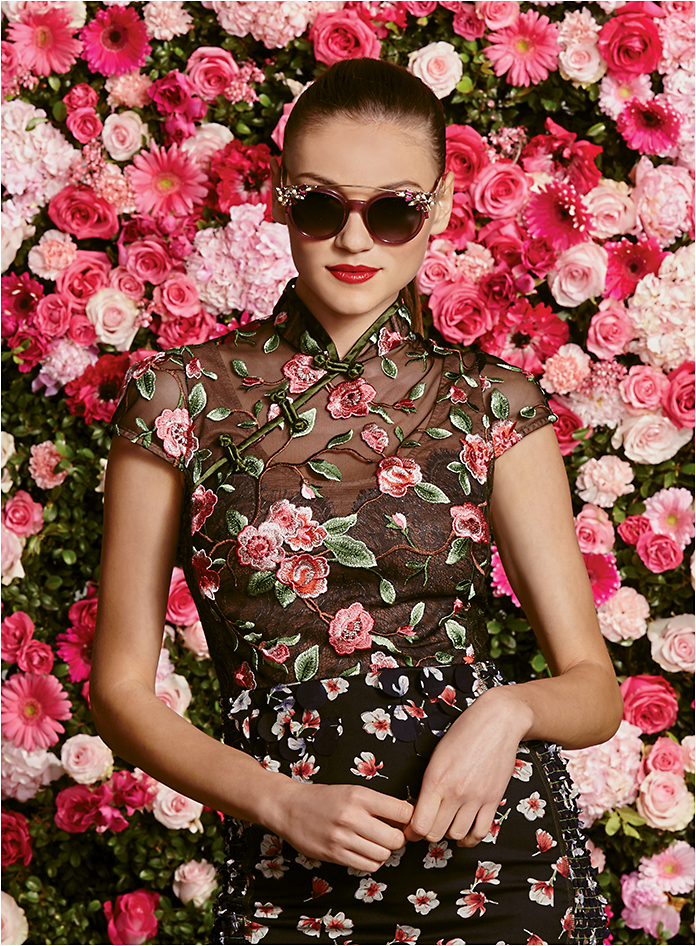 FLOWER POWER Jimmy Choo VIVY/S from Safilo, a glam, oversized acetate sunglass with detachable aviator bar with stunning Swarovski crystals embedded in the clips.