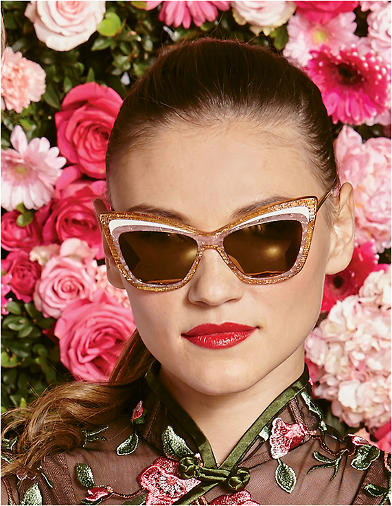 IN THE PINK Christian Roth for DITA Rock 'N Roth dramatic cat-eye with multilayered acetate front with glitter, translucence, and brown and pink with gold metal temples and flash mirror lenses.