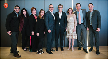 4 120 VIPs across the industry (including the EB team) attended the intimate Casa Luxottica housewarming reception coinciding with Vision Expo East. Here, Luxottica + Essilor attendees gather in the new space. From left: Steve Nussbaumer, Jane Lehman, Holly Gillentine, Chiara Bernardi, Rick Gadd, Fabrizio Uguzzoni, Maureen Cavanagh, Matthieu Tagnon, and Ryan Parker, O.D.