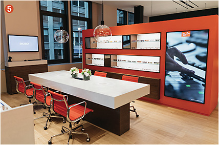 5 The dedicated Ray-Ban area of the showroom space—boasting branded meeting areas, product walls, and LED screens for campaign videos.