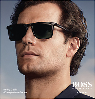 Successful global advertising and social media campaigns have flanked Safilo's partnership with Hugo Boss. The most recent features British actor Henry Cavill (pictured) and Brunei-born singer, actor, and model Wu Chun as faces of the Boss eyewear campaign.